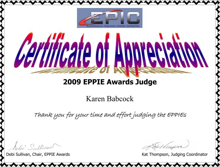 Certificate of Appreciation for being an EPPIE judge in 2009
